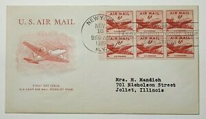 1949 US 6c Airmail Booklet Pane of 6 First Day Cover ASDA SC C39a DC-4 Skymaster