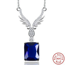 Angle Wings Sapphire & White Topaz 925 Sterling Silver Necklace Chain Pendant