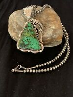 Navajo Sterling Silver Green Spiderweb Turquoise Beads Necklace Pendant 4683