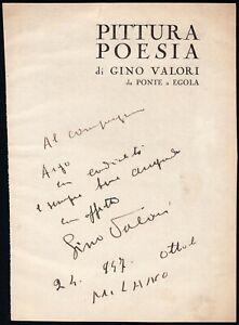 Autografo del pittore toscano Gino Valori (Montecatini, 1896 - 1979)
