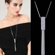 Women Full Cubic Zircon Cylinder Pendant Long Chain Tassel Sweater Necklace Gift
