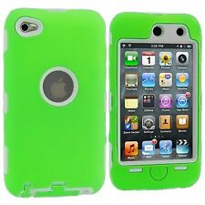 Hybrid Hard Silicone Case for iPod Touch 4th Gen - White/Green