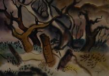 "JJ McVicker ""Gatepost, 1949"" Oklahoma Regionalist / Modernist Watercolor"
