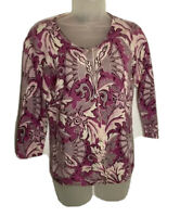 Talbots Womens Cashmere Cardigan Knit Sweater Size Small Pink Leaf Floral Print