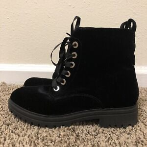 Mossimo Supply Co Velvet Black Combat Boots size 7.5 US Lace up and side zipper