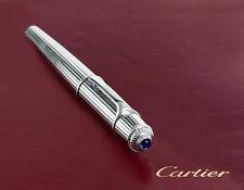 Cartier Fountain Pen Diabolo Platinum Godron Pinstripe Authentic