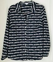 Crown & Ivy Navy Blue with White Elephants Long Sleeve Shirt Cotton Women Size L