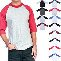 Men's 3/4 Sleeve Crew Neck Color Block Raglan Baseball T Shirt Casual S-3XL