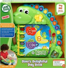 LeapFrog Dino's Delightful Day Alphabet Book, Green New!!!
