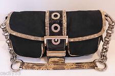 Prada Tessuto Patch Catena Black Nylon Python Trim Pochette Bag Small