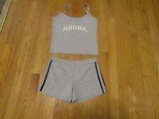 Aruba girls tank top and short set size M gray