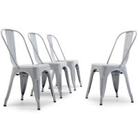 Modern Kitchen Set of 4 Dining Chairs High Back Gray Metal Dining Chair Retro