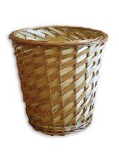 Natural Wicker Wood Round Waste Trash Bin Storage Bath Closet Room Gift Basket