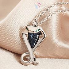 18K White Gold GF Made With Swarovski Element Stylish Jean Blue Cobra Necklace