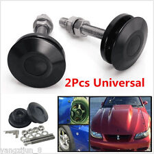 2 Pcs Black Push Button Billet Hood Pins Lock Clip Kit Car Quick Latch Bonnets