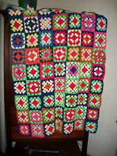 "Vintage handmade multicolor granny square afghan/throw 40"" X 62"""