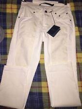 Pantalone Jeckerson bianco panna con alcantara taglia 31 nuovo con etichetta
