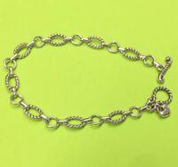 Brighton #1-Toggle Chain Silver Starter Bracelet Delicate Chain Oval Connector