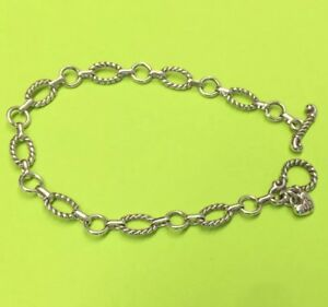 Brighton #1-TOGGLE Connector Chain Silver Starter Bracelet Delicate Chain Oval