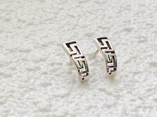 Vintage Sterling Silver Geometric Style Bar Stud Earrings