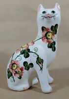 Vintage Wesmyss cat decorated w/ dog roses Griselda Hill Pottery Scotland mAAI