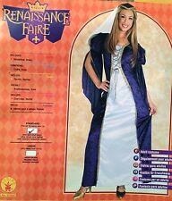 RENAISSANCE FAIRE HALLOWEEN COSTUME BLUE VELOUR LONG GOWN WOMEN'S UP TO SIZE 12