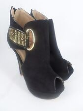 Sweet Shoes Heeled Platform Peep Toe Ankle Boots Black UK 4 EU 37 LG07 68