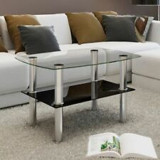 Tempered Glass Coffee Table 2 Tiers Home Living Room Sofa Side Telephone Stand