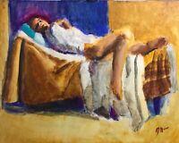Original Jeffrey Lloyd Barnes 20x16 ABSTRACT Realism Figure Painting Woman Lying