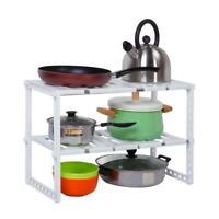 2 Tier Adjustable Under Sink Kitchen Tools Rack Storage Shelf Cabinet White
