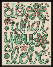 Hacer What You Amor Verde y Melocotón Punto de Cruz Kit Completo No.43-100
