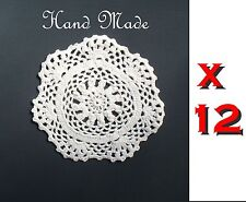 "Lot 12, 4"" inch Handmade Crochet Doilies doilys coasters ECRU round 100% cotton"