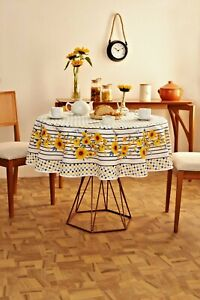 Yellow sunflower print tablecloth w/ stripes and geometric pattern-Square, Round