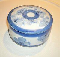"Vintage Blue & White Chinese Round Porcelain Trinket Box 4"" diameter x 2 1/2"" T"