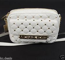 MICHAEL KORS KIM OPTIC WHITE STUDDED QUILTED WOMENS SHOULDER LOGO BAG MSRP $328.