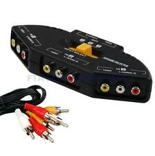 3 Port AV Composite + Audio RCA Phono Selector Switch For Video Audio Switching