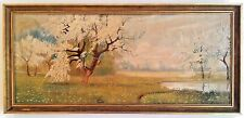 Original Mid-Century Painting on Canvas - Cherry Blossom Landscape - Signed