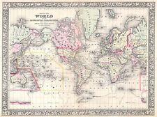 1864 Mitchell Mappa del mondo in proiezione di Mercatore Vintage Poster Stampa 2949pylv