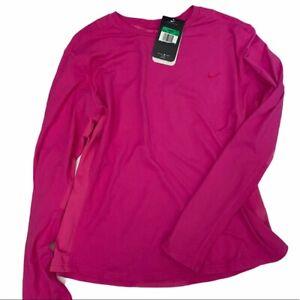 NWT Nike Women's DriFit Running Mesh Long Sleeve Fuchsia Top XL