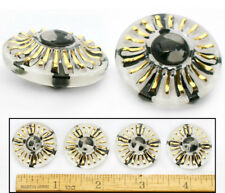 27mm Vintage Czech Glass MOD Black + White 1960's Gold Sunburst 3D Buttons 4pc