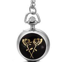 "Rose Flower Quartz Arabic Numerals Full-Hunter Pocket Watch Necklace 30"" Chain"