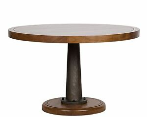 """48"""" Round Dining Table Solid Walnut Wood & Metal Frame Rustic Modern Design"""
