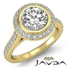 Halo Pave Bezel Round Diamond Engagement Ring GIA G VS1 18k Yellow Gold 2.3ct