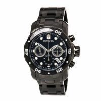Invicta Men's Watch Pro Diver Chrono Black and Silver Dial Black Bracelet 0076