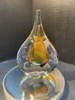 M. Pyrcak Crystal Teardrop Paperweight Mouth Blown Made In Poland Signed