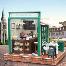 Wooden Dolls house Miniature DIY Kit w/ LED light & Music Box with All Furniture