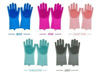 UK Magic Silicone Rubber Dish Washing Gloves Kitchen Pet Bath Cleaning Scrubber
