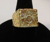 SIZE 13 MENS 14KT GOLD EP MASONIC FREEMASON RING
