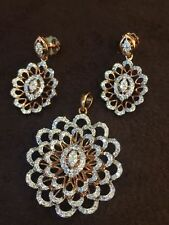 Stunning 3.41 Cts Natural Diamonds Pendant Earrings Set In Hallmark 14Karat Gold