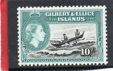 Gilbert & Ellice QE2 1956 10s. black & turquoise sg 75 LH.Mint